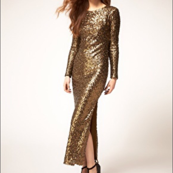 River Island Dresses Long Sleeved Gold Sequin Maxi Dress Poshmark