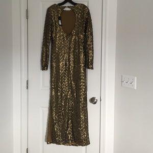 44788fd7 River Island Dresses - River Island Long Sleeved Gold Sequin Maxi Dress