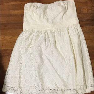 Forever 21 ivory mini strapless dress