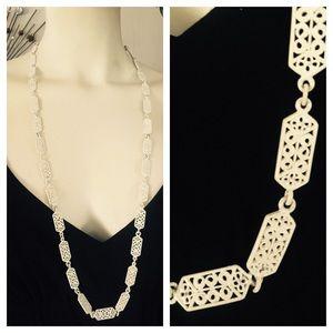 Vintage White Enamel Filigree Flat Chain Necklace