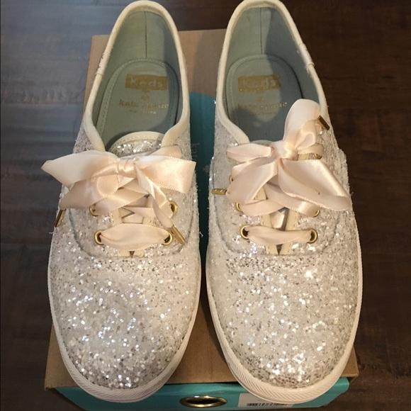 3f6ca171a67d5 Kate Spade Cream Glitter Keds Size 5