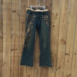 Yagi Denim - Yogi low rise decorated jeans