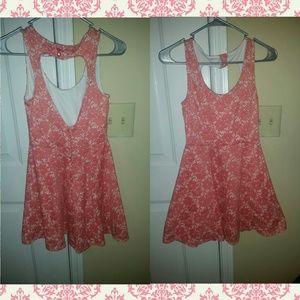 Peach Floral Lace Dress
