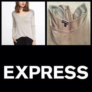 EXPRESS rhinestone shoulder hi-lo hem sweater