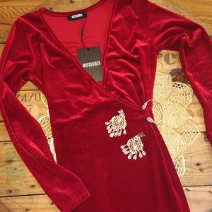 Red velvet body con dress