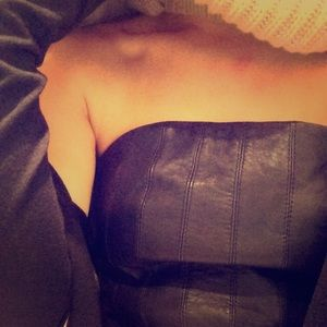 All Saints leather strapless top