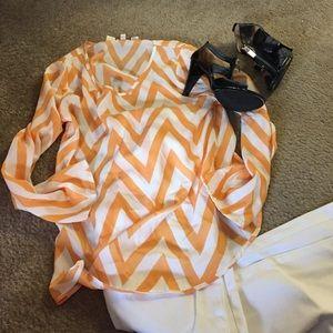  flash sale Three quarter sleeve chevron blouse