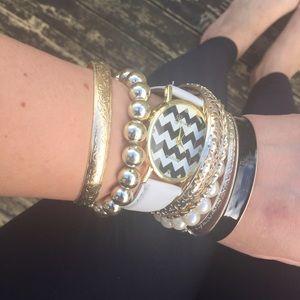 Chevron Accessories - Chevron Watch and Arm Party Bracelets Bundle
