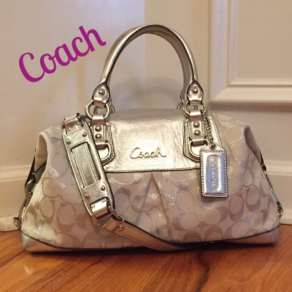 79fc92cc791a Coach Handbags - Coach Ashley Silver Lurex Sign.