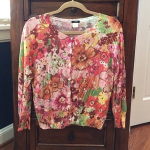 Floral J. Crew cardigan sweater