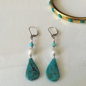 Genuine Turquoise & Freshwater Pearl Earrings