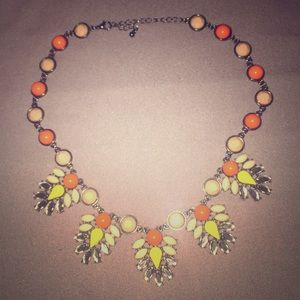 Orange, yellow and coral statement necklace