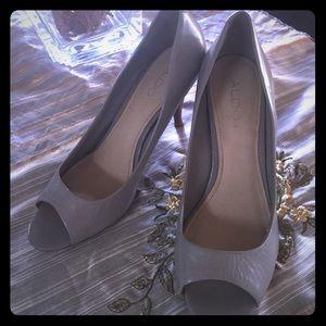 Aldo Grey Peep Toe Heels