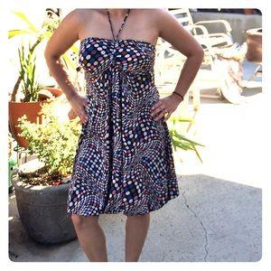 Multicolored polka dot halter top dress