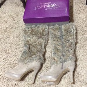 Fergie Shoes - Fergie faux fur knee high boots NWT