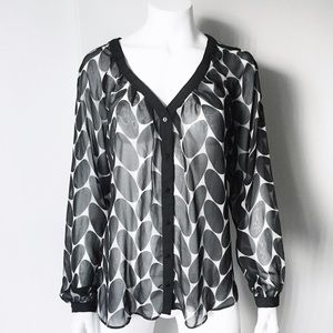 Zara Tops - Zara Black and White Chiffon Blouse with Buttons