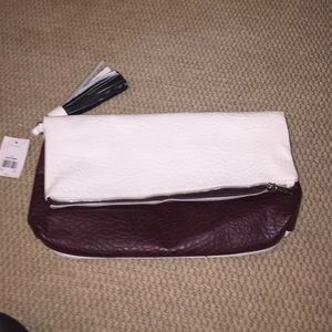 Maroon and off-white tassel Croco inspired clutch