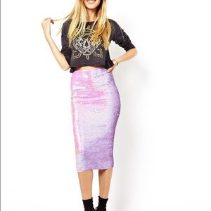 ASOS  purple sequin skirt