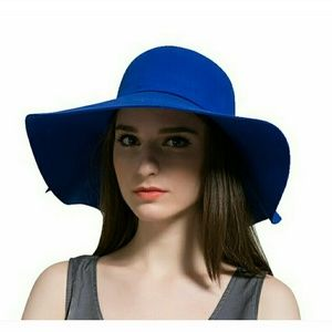 fdaeb2190 Celebrity chic royal blue floppy hat NWT