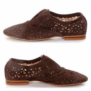 Anthropologie Shoes - Lulu's • Suede Brown Oxford Flats