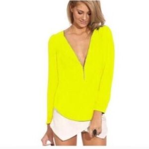 Neon Blouse Front zipper Yellow