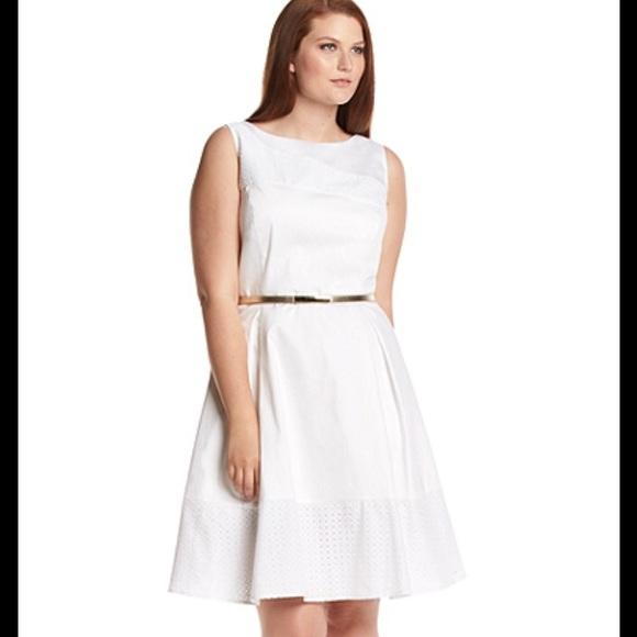 NWT Calvin Klein white eyelet dress plus size FIRM NWT