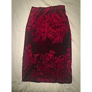 Boroque Inspired, Velvet & Burgundy Pencil Skirt