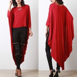 "X ""Another Moon"" Poncho Maxi High Low Top"