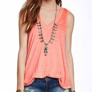 Free People Orange Breezy Burnout Tank
