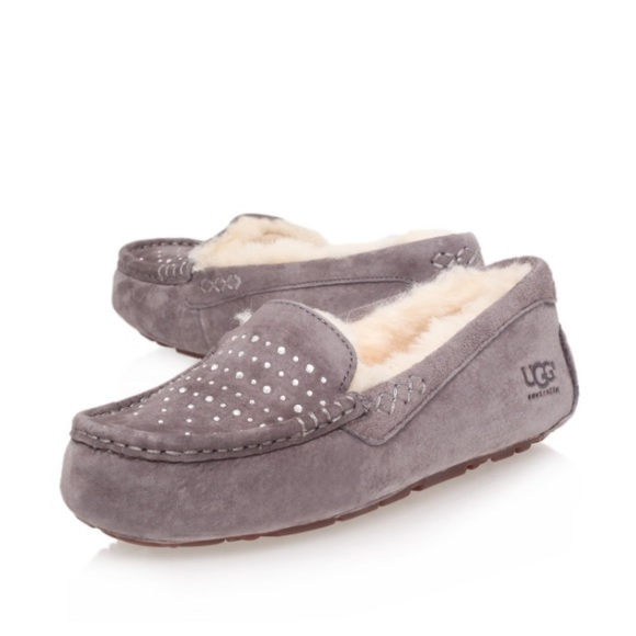 UGG authentic Ansley bling grey moccasins Sz 8 new