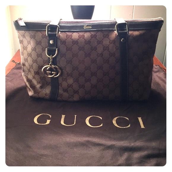33ae32c9f Gucci Bags | Medium Abbey Dring Dipped Canvas Tote Euc | Poshmark