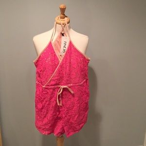Finejo Other - Pink lace drawstring racerback romper