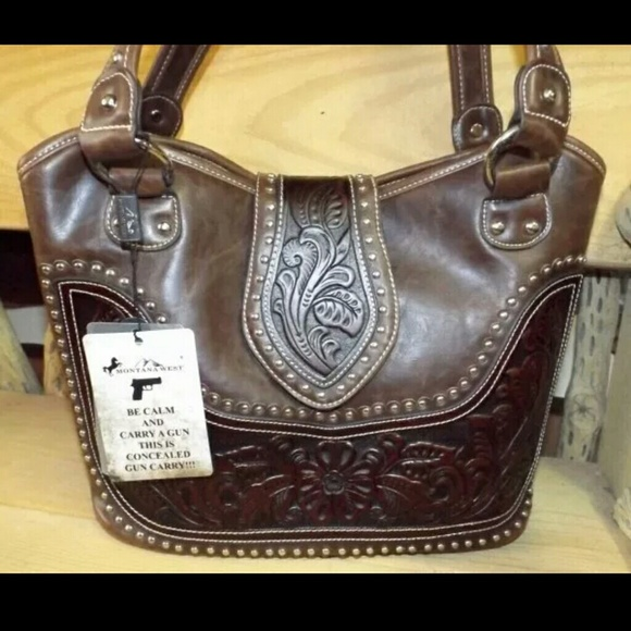 NWT Montana West Tooling Collection CONCEALED CARRY HANDBAG w//Wallet BROWN