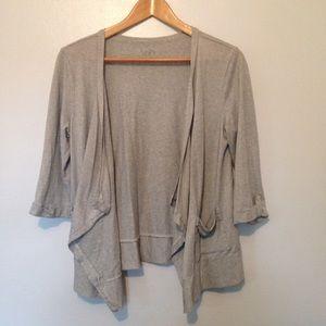 LOFT Gray Striped Asymmetrical Cardigan