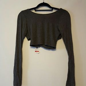 1 day sale NWT Gray longsleeve crop top