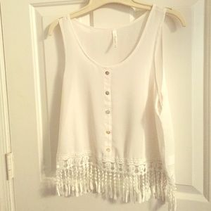DNA couture white sheer tank top
