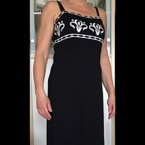 INC Long Black Dress with white embroidered detail