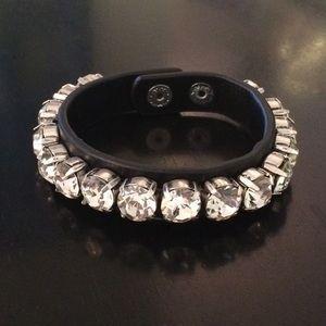 Rhinestone stud leather wrap bracelet. NWOT
