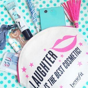 NEW! Benefit Cosmetic Makeup Bag Case Neon Pink