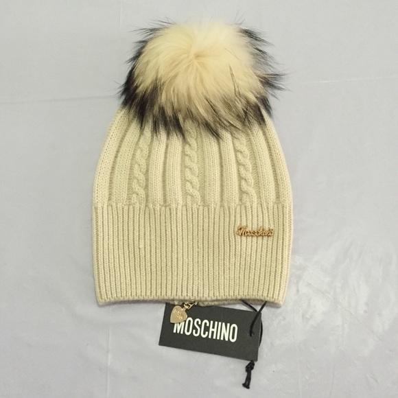 Moschino wool hat with raccoon fur Pom Pom NWT