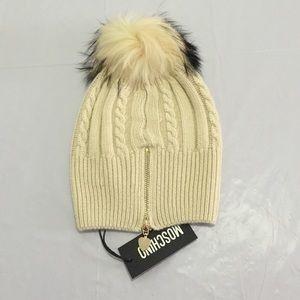 Moschino Accessories - Moschino wool hat with raccoon fur Pom Pom NWT