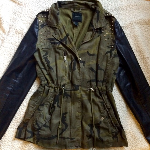 5ec7c084df92f Forever 21 Jackets & Coats | Green Faux Leather Spiked Camo Jacket ...