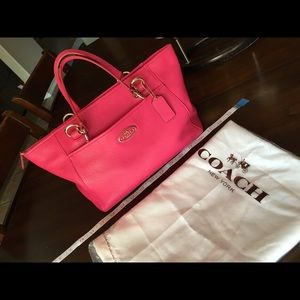 Hot Pink COACH Satchel Hobo Purse | Gold Zippers