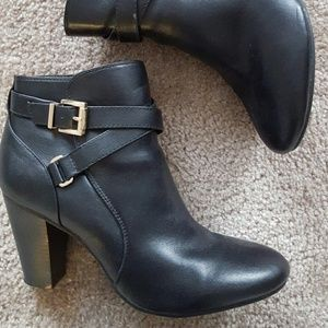 Merona Shoes - Black booties with heels and buckles.