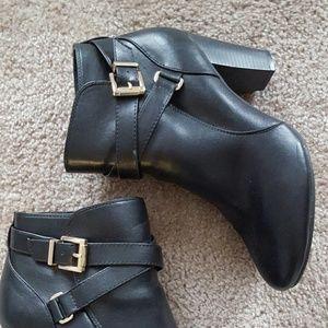 Merona Shoes - Black booties with heels and buckles.