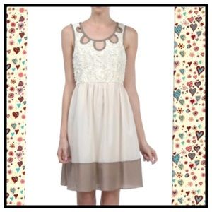 Areve Dresses & Skirts - CREAM LACE DETAIL DRESS - SMALL