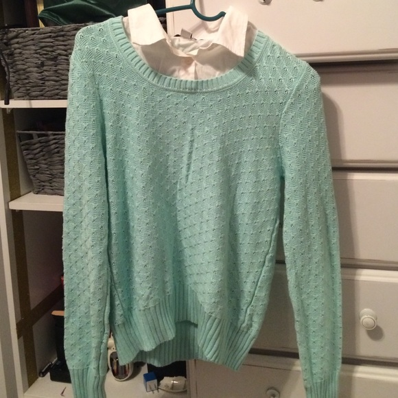 Mint Sweater With Built In Collar