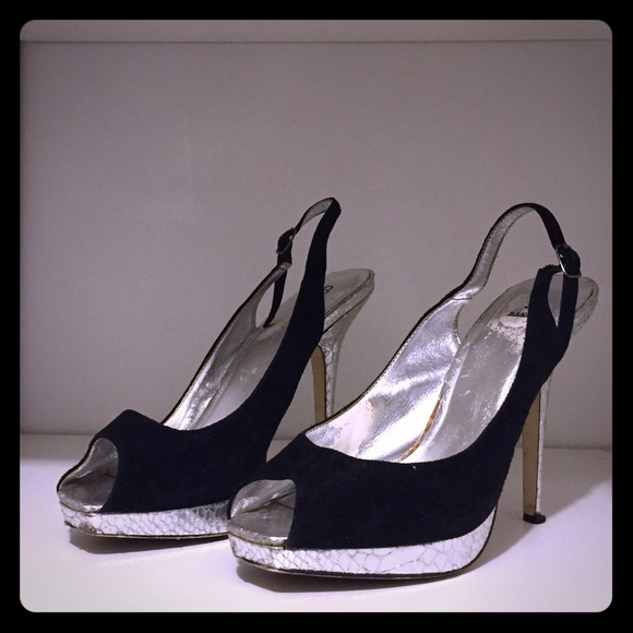 Bakers Shoes - Bakers black and silver stilettos