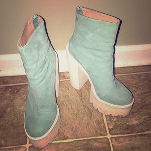 Jeffrey Campbell teal color booties