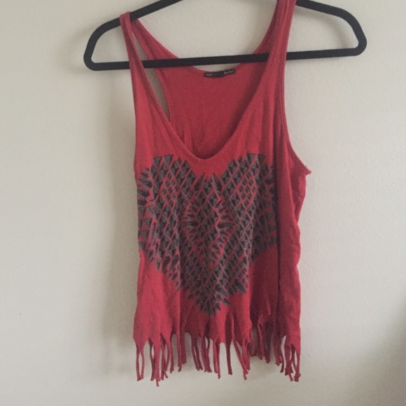 Tops - red fringe tank top
